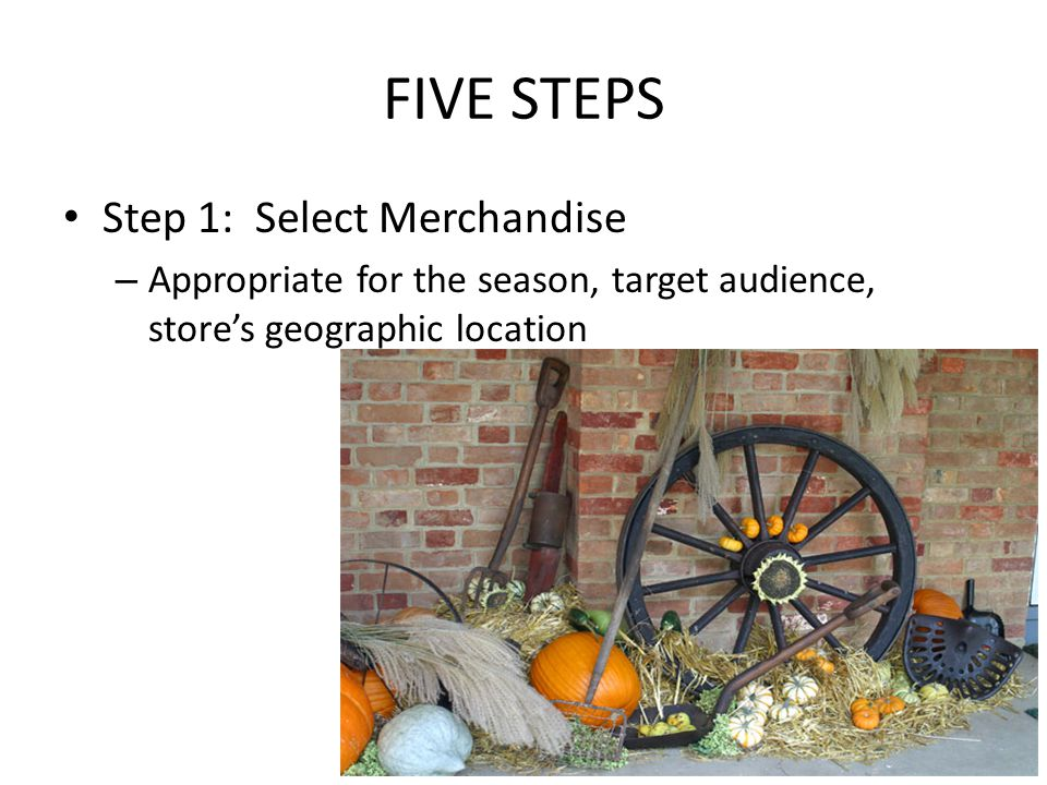 FIVE STEPS Step 1: Select Merchandise