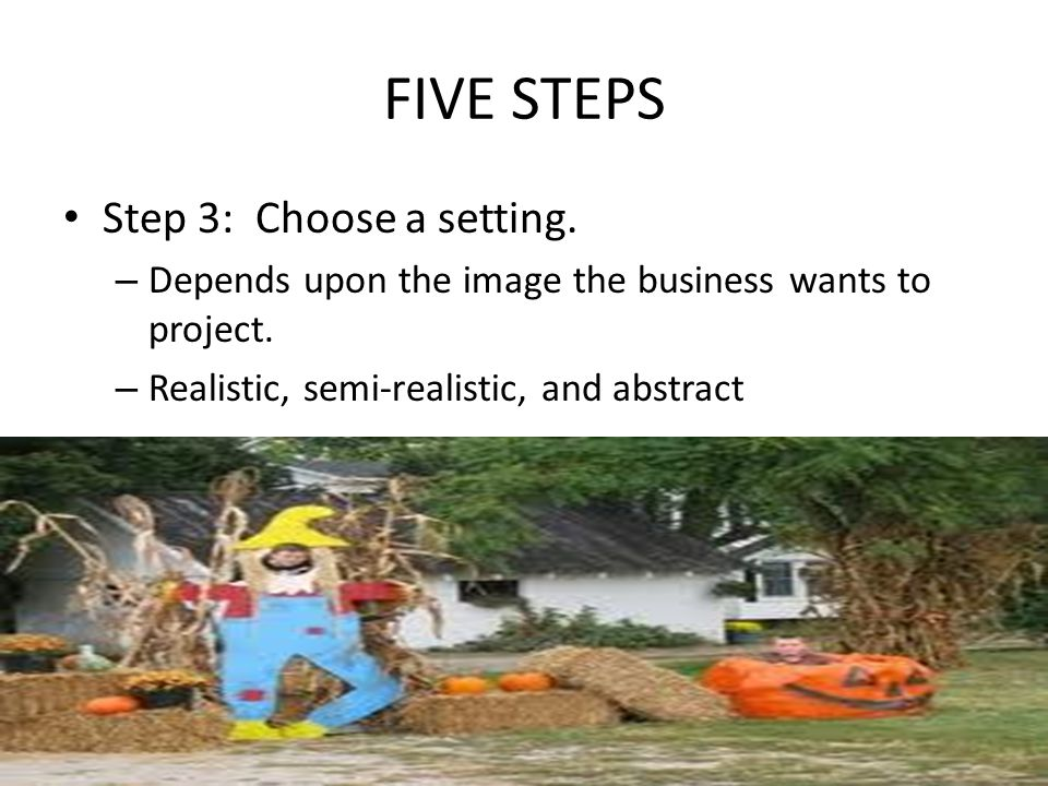 FIVE STEPS Step 3: Choose a setting.
