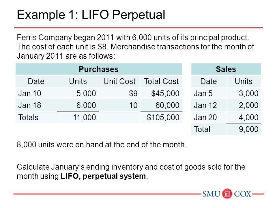 Example 1: LIFO Perpetual