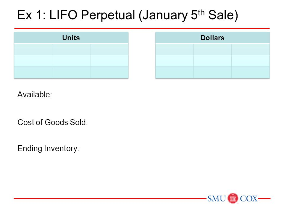Ex 1: LIFO Perpetual (January 5th Sale)