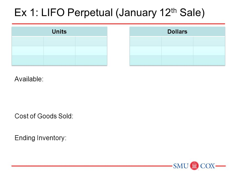 Ex 1: LIFO Perpetual (January 12th Sale)