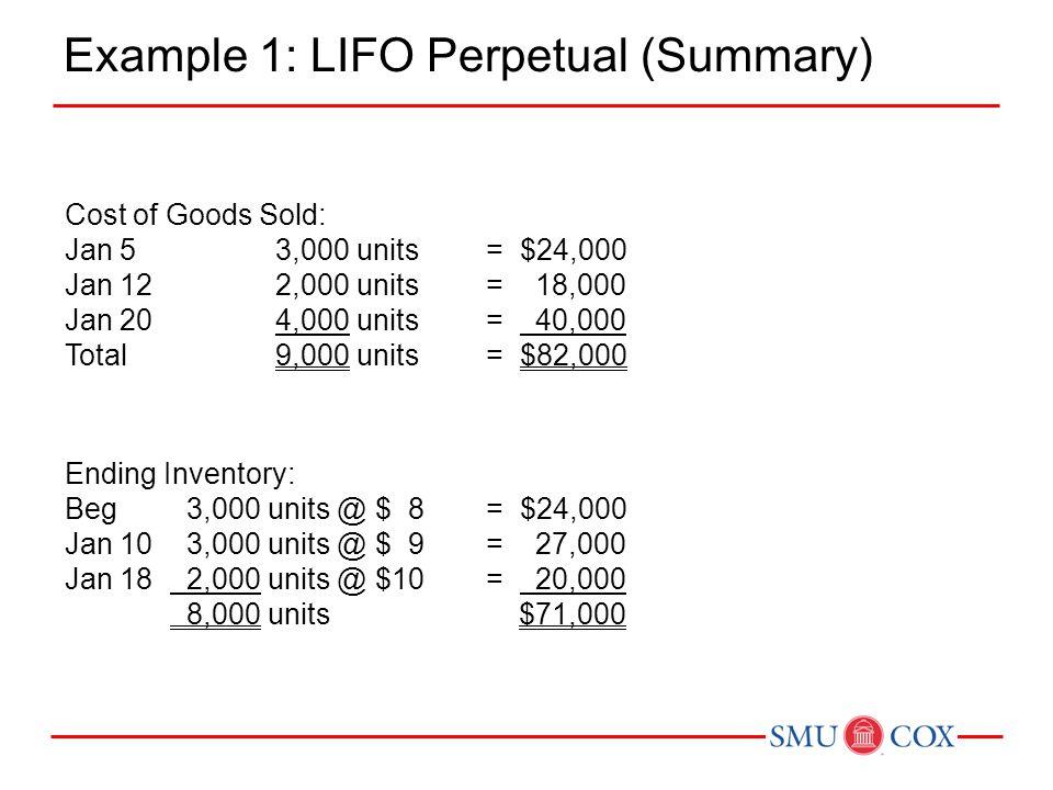 Example 1: LIFO Perpetual (Summary)