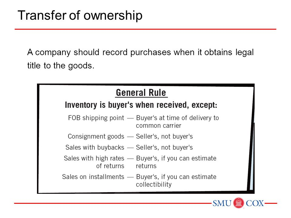 Transfer of ownership A company should record purchases when it obtains legal title to the goods.
