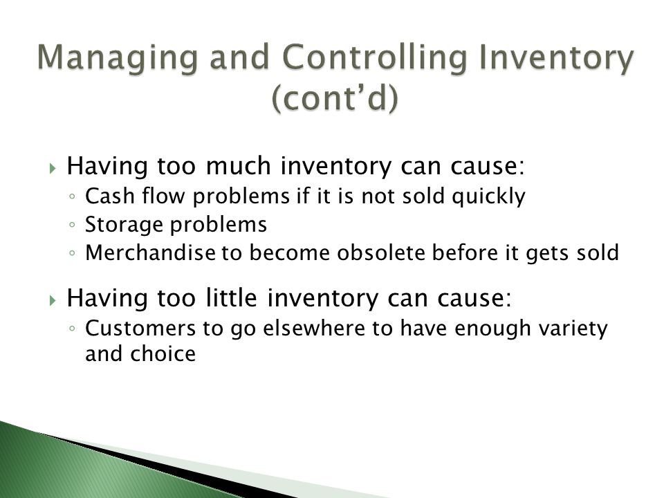 Managing and Controlling Inventory (cont'd)