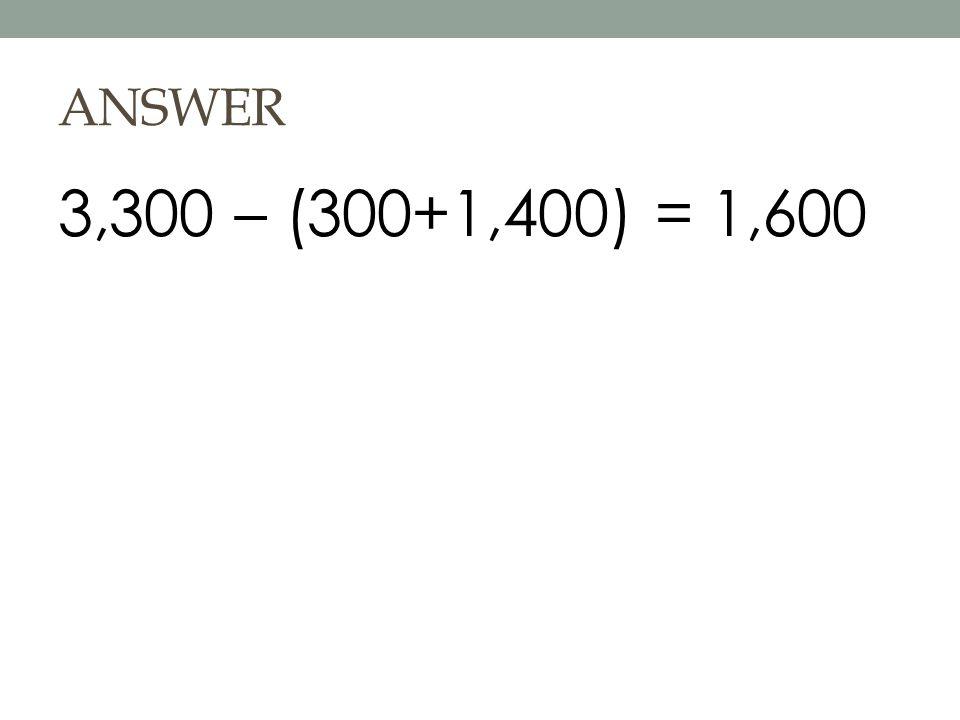 ANSWER 3,300 – (300+1,400) = 1,600