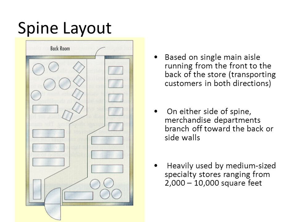 Spine Layout Based on single main aisle running from the front to the back of the store (transporting customers in both directions)