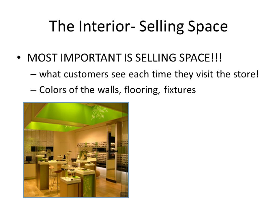 The Interior- Selling Space