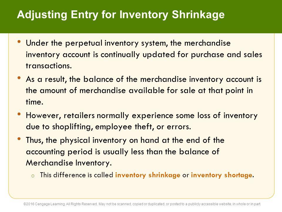 Adjusting Entry for Inventory Shrinkage