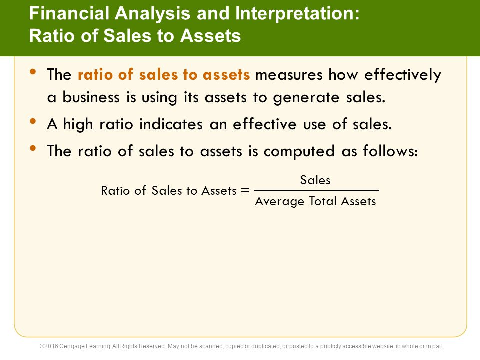 Financial Analysis and Interpretation: Ratio of Sales to Assets