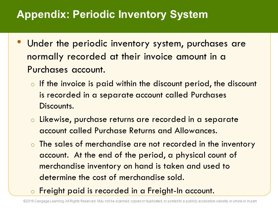 Appendix: Periodic Inventory System