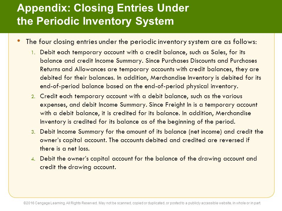 Appendix: Closing Entries Under the Periodic Inventory System