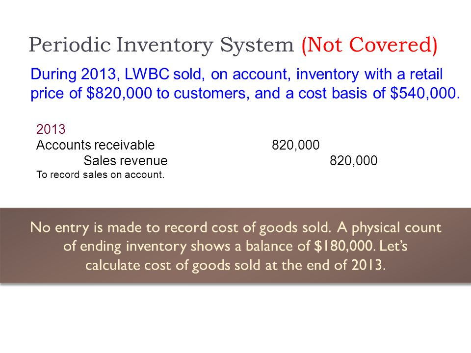 Periodic Inventory System (Not Covered)