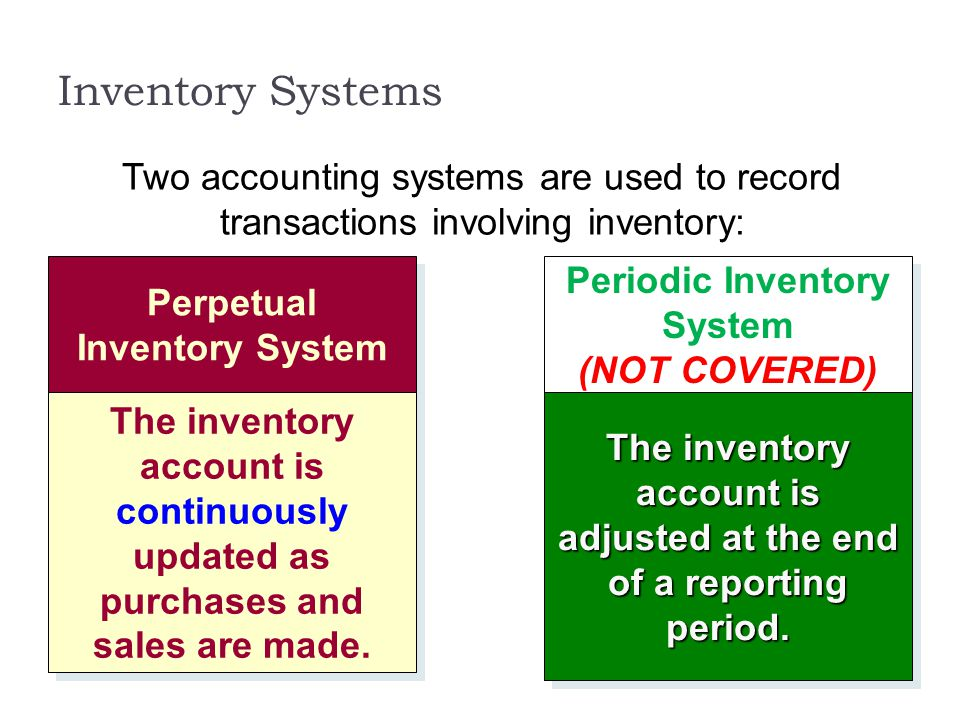 Inventory Systems Two accounting systems are used to record transactions involving inventory: Perpetual Inventory System.