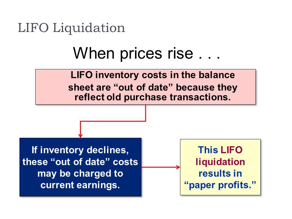 When prices rise . . . LIFO Liquidation