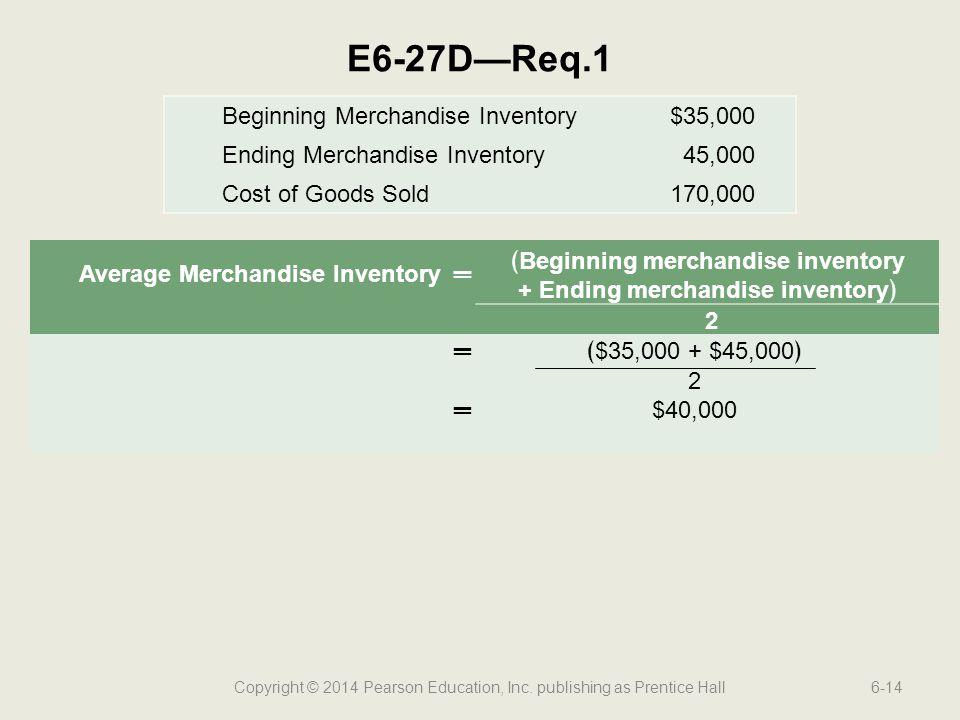 ﴾Beginning merchandise inventory + Ending merchandise inventory﴿