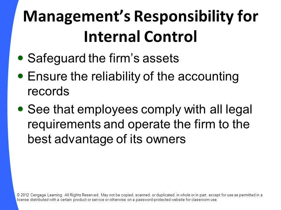 Management's Responsibility for Internal Control