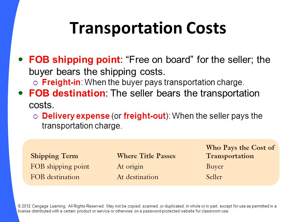 Transportation Costs FOB shipping point: Free on board for the seller; the buyer bears the shipping costs.