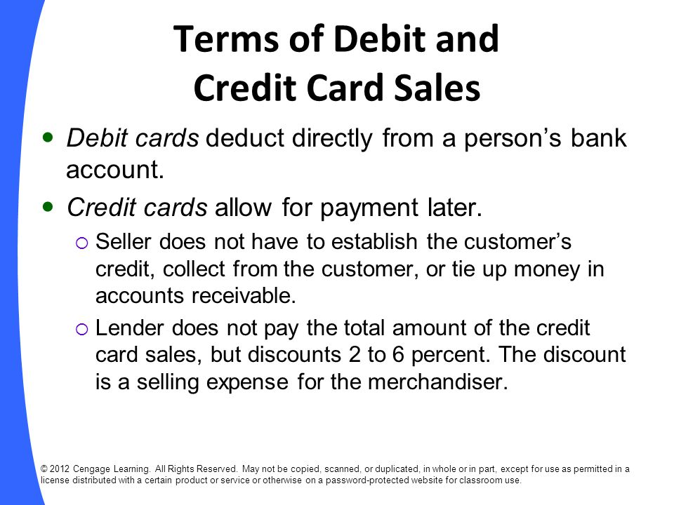 Terms of Debit and Credit Card Sales