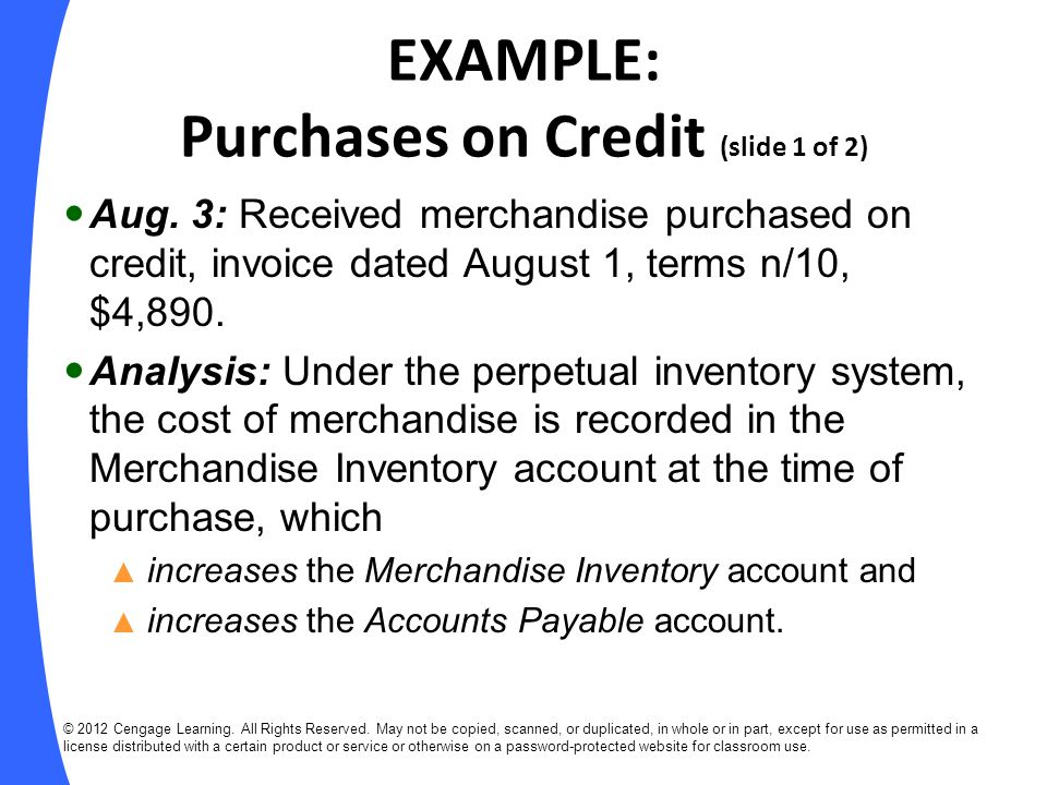 EXAMPLE: Purchases on Credit (slide 1 of 2)