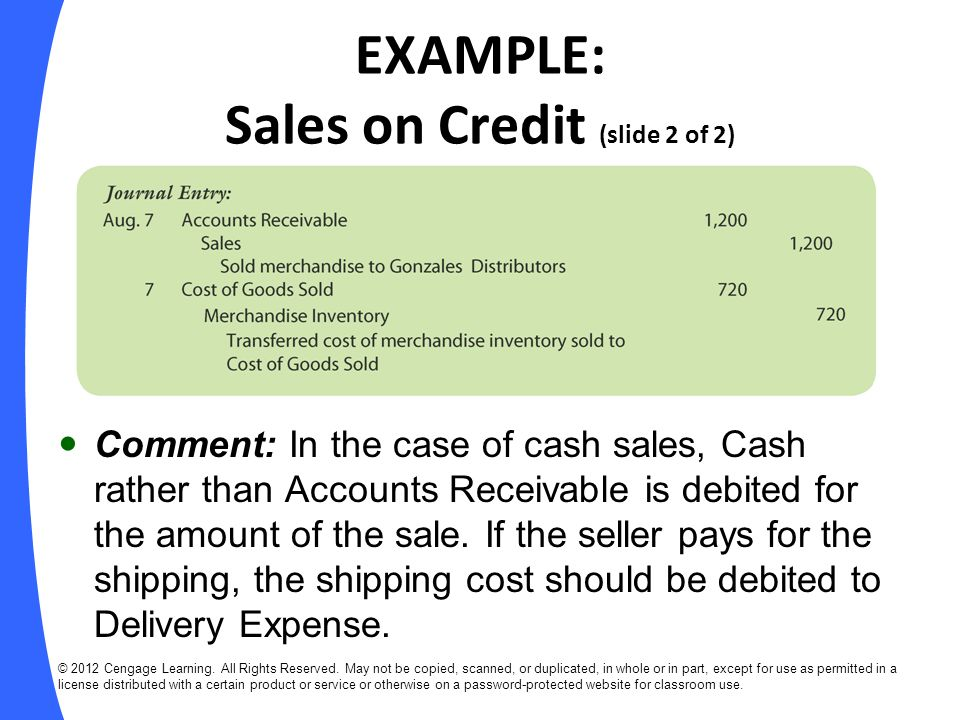 EXAMPLE: Sales on Credit (slide 2 of 2)