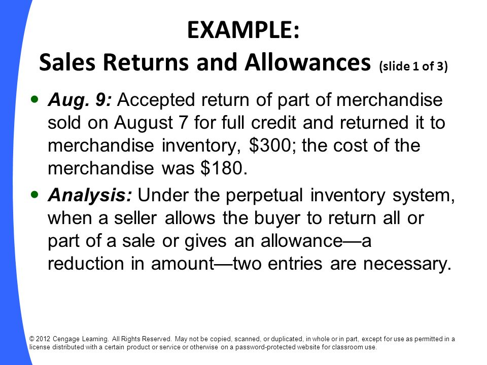 EXAMPLE: Sales Returns and Allowances (slide 1 of 3)