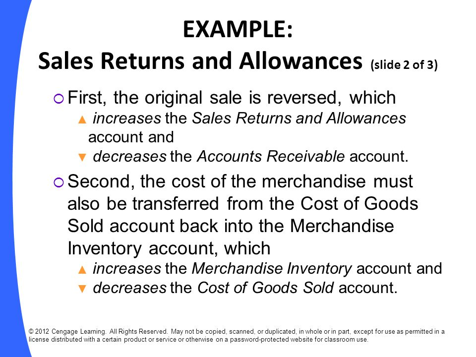 EXAMPLE: Sales Returns and Allowances (slide 2 of 3)