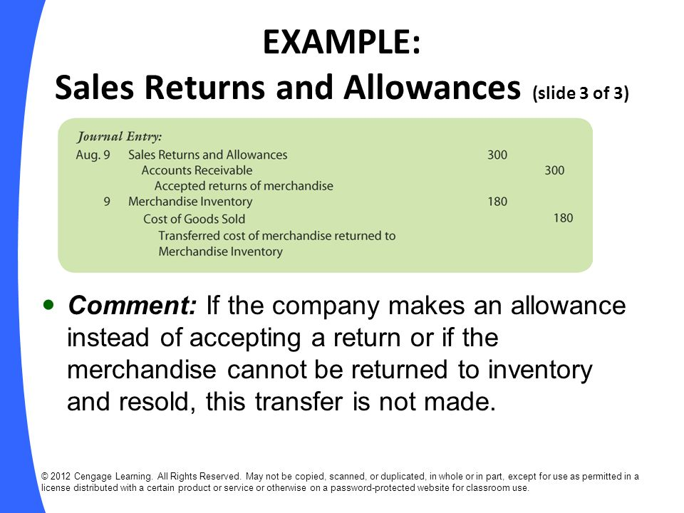 EXAMPLE: Sales Returns and Allowances (slide 3 of 3)