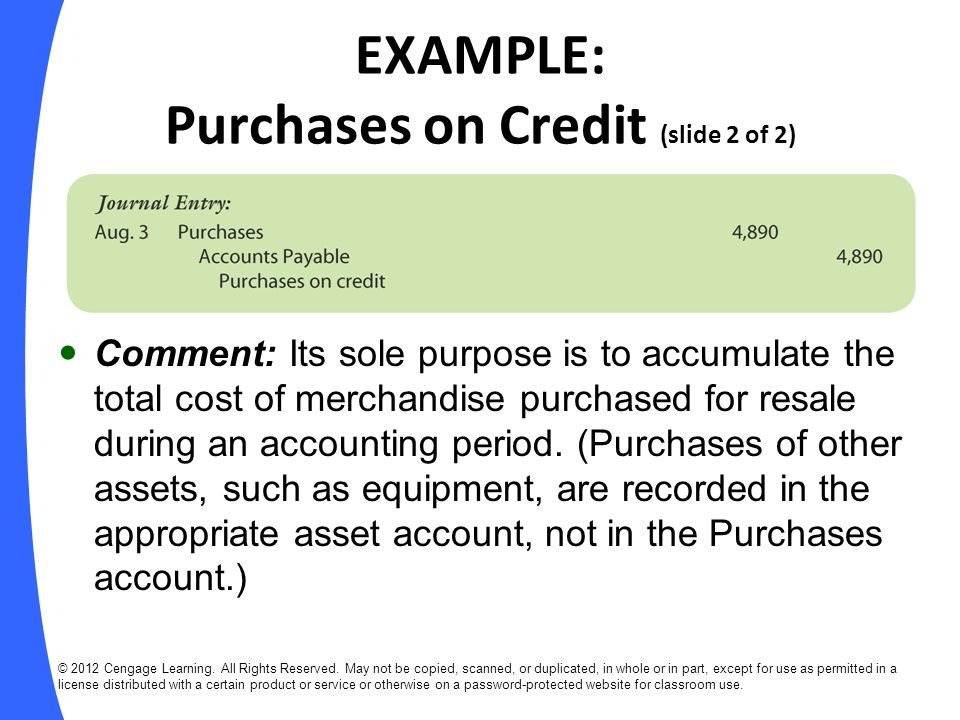 EXAMPLE: Purchases on Credit (slide 2 of 2)