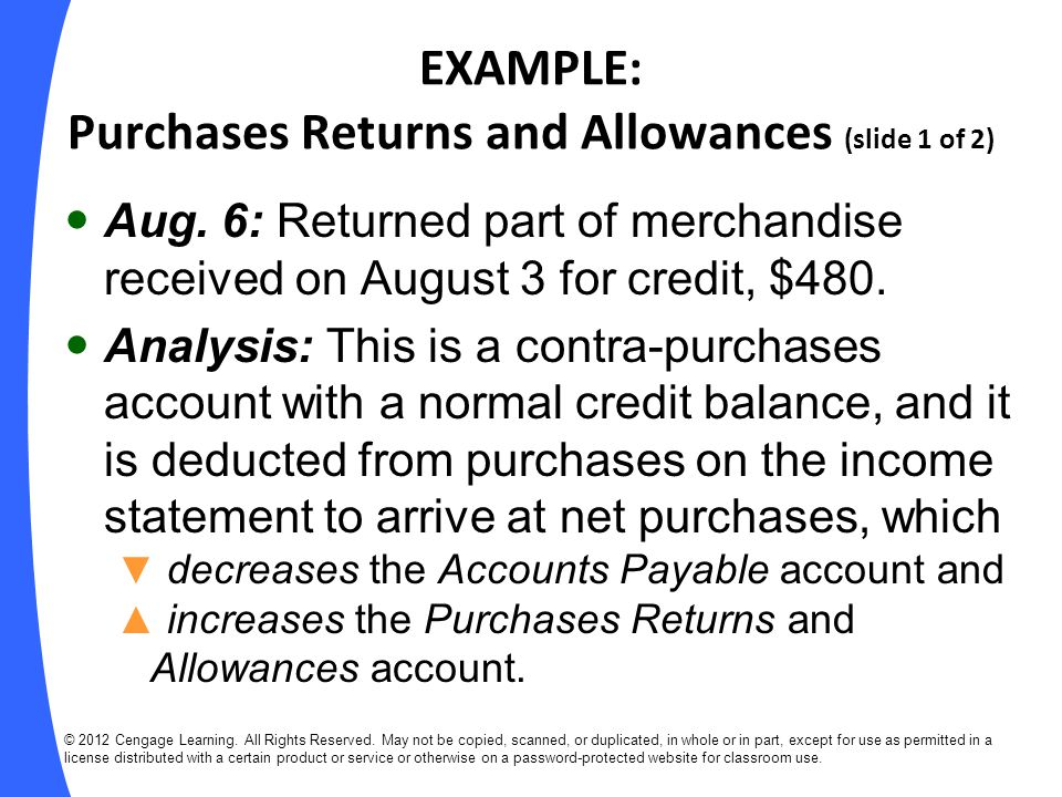EXAMPLE: Purchases Returns and Allowances (slide 1 of 2)