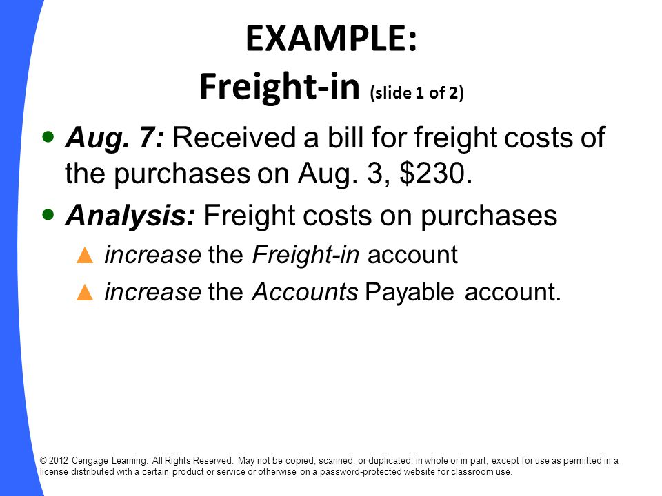 EXAMPLE: Freight-in (slide 1 of 2)