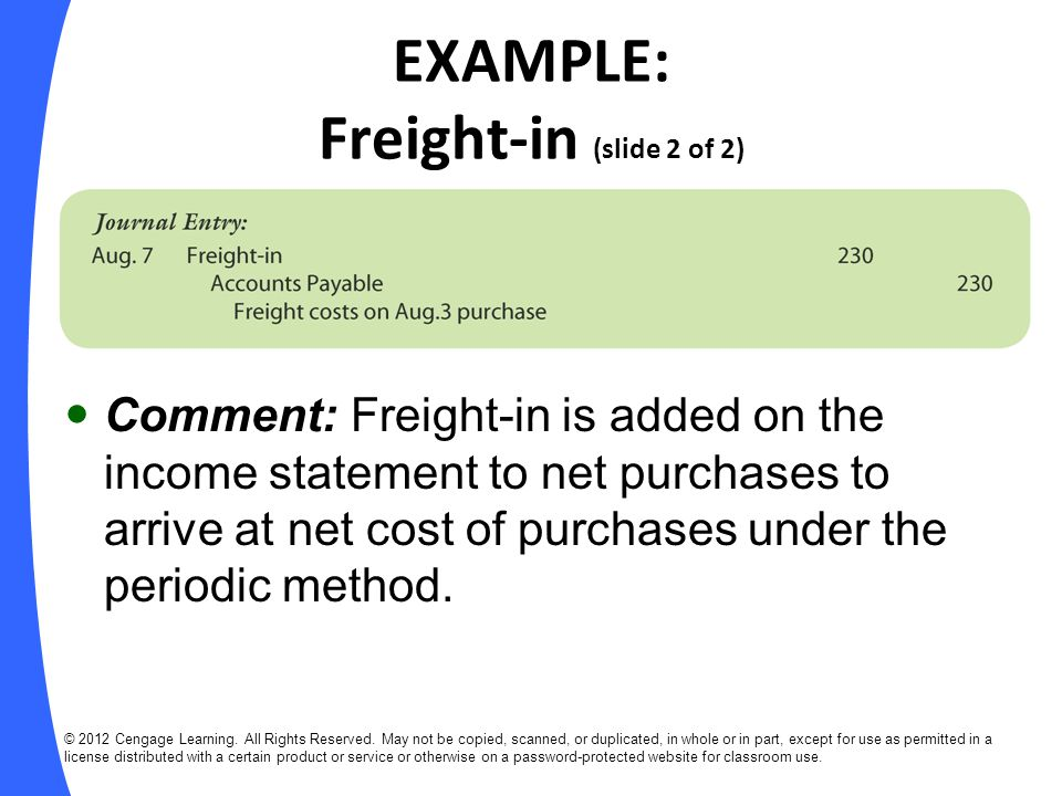 EXAMPLE: Freight-in (slide 2 of 2)