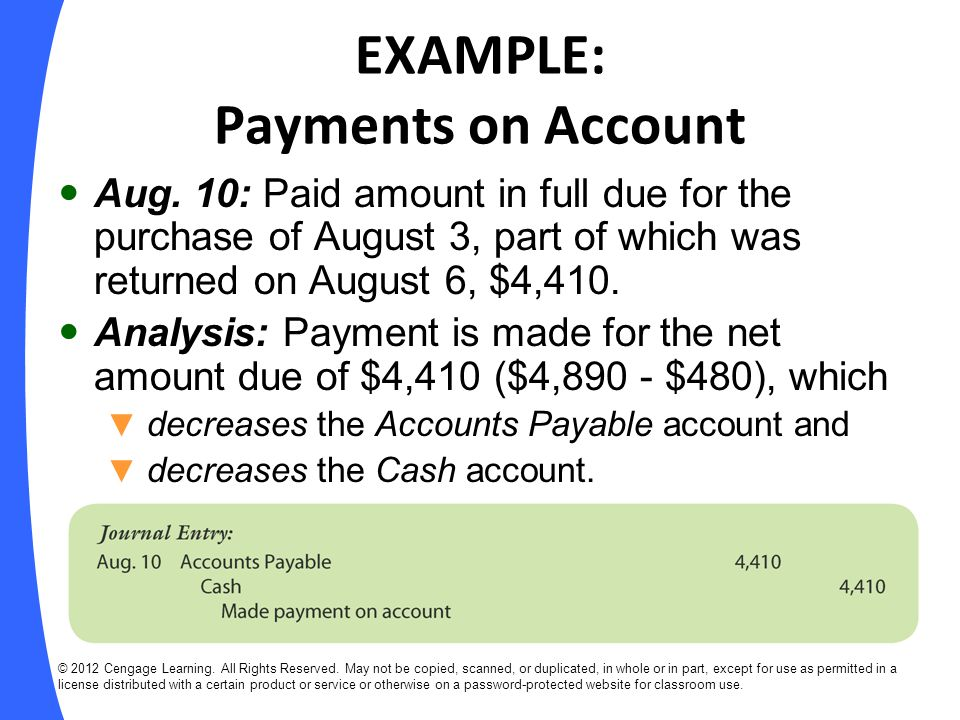 EXAMPLE: Payments on Account