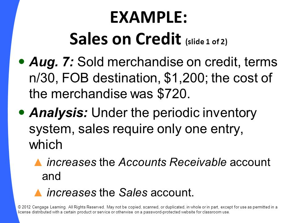 EXAMPLE: Sales on Credit (slide 1 of 2)