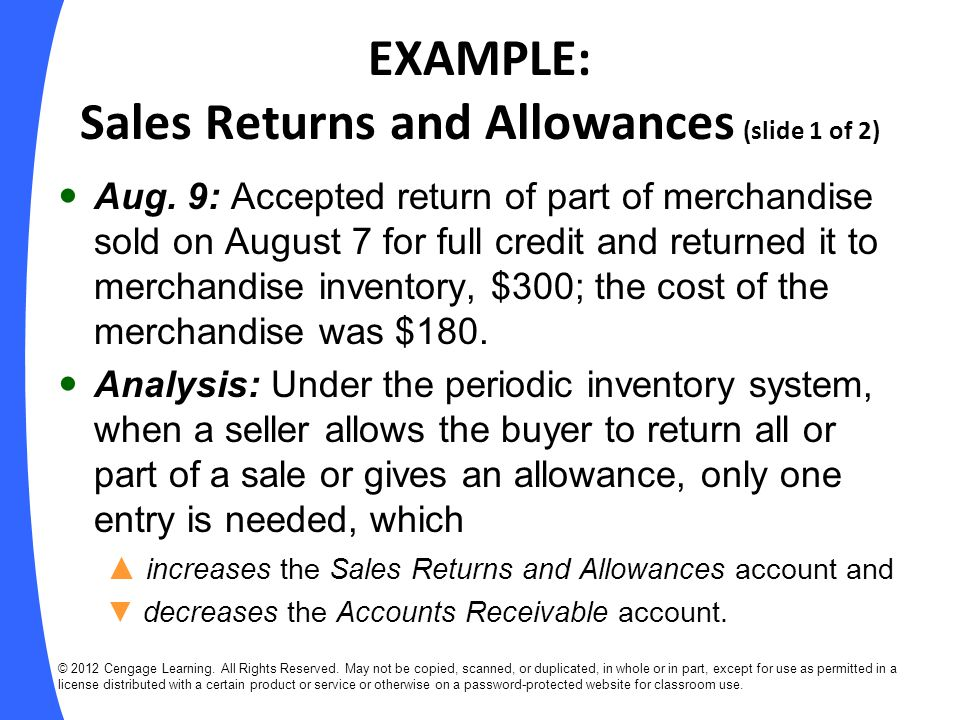 EXAMPLE: Sales Returns and Allowances (slide 1 of 2)
