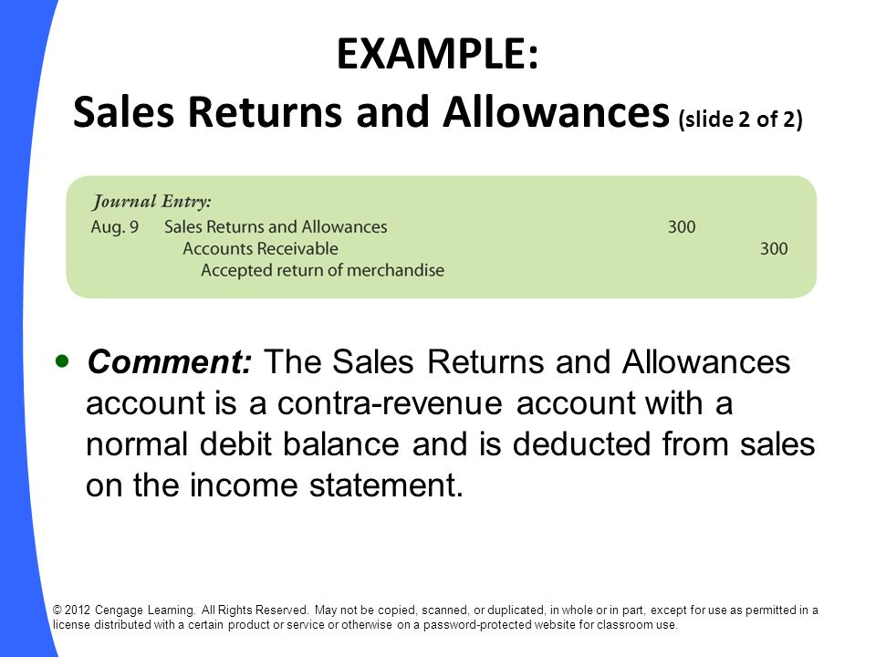 EXAMPLE: Sales Returns and Allowances (slide 2 of 2)
