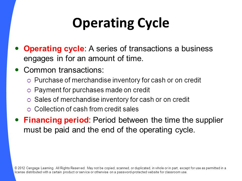 Operating Cycle Operating cycle: A series of transactions a business engages in for an amount of time.