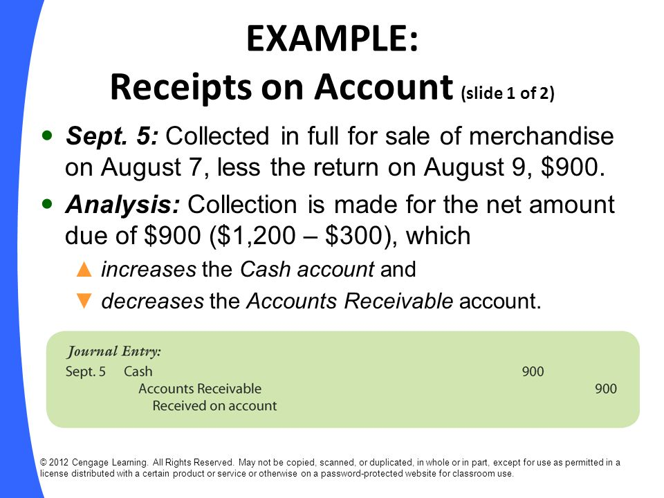 EXAMPLE: Receipts on Account (slide 1 of 2)