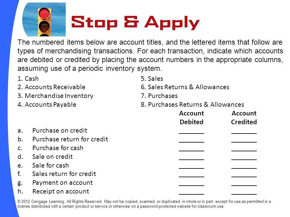 2. Accounts Receivable 6. Sales Returns & Allowances