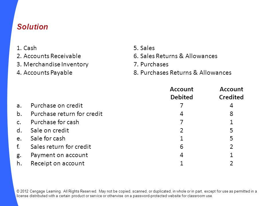 Solution 1. Cash 5. Sales. 2. Accounts Receivable 6. Sales Returns & Allowances. 3. Merchandise Inventory 7. Purchases.