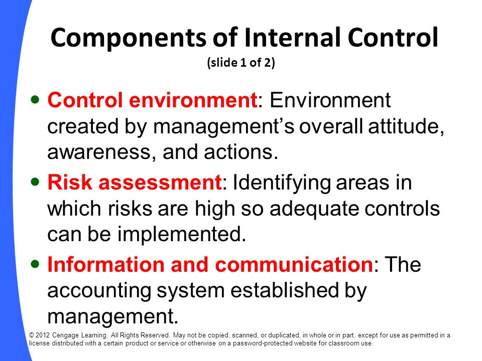 Components of Internal Control (slide 1 of 2)