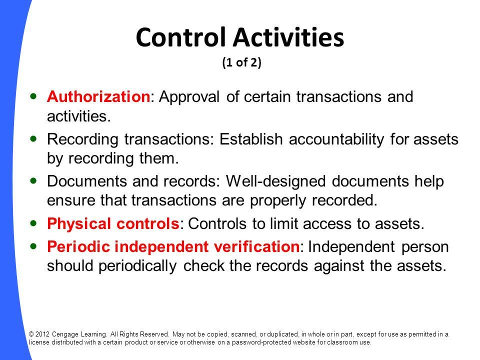 Control Activities (1 of 2)