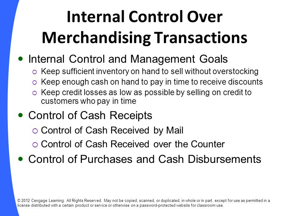 Internal Control Over Merchandising Transactions