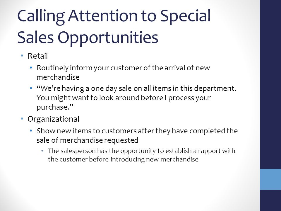 Calling Attention to Special Sales Opportunities