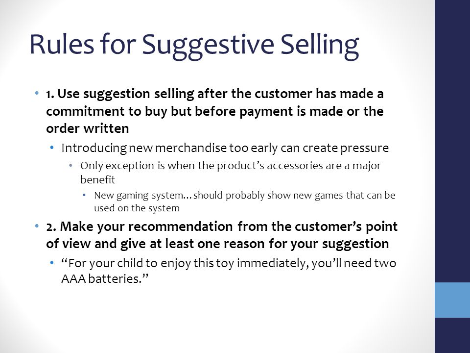 Rules for Suggestive Selling