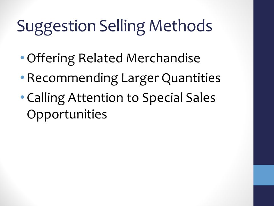 Suggestion Selling Methods