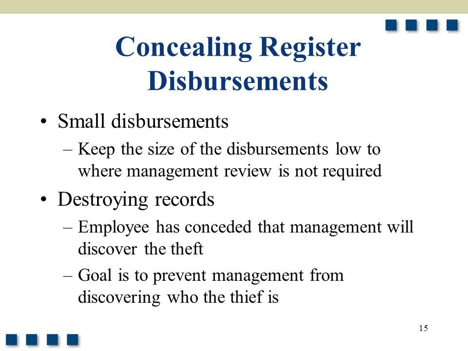 Concealing Register Disbursements