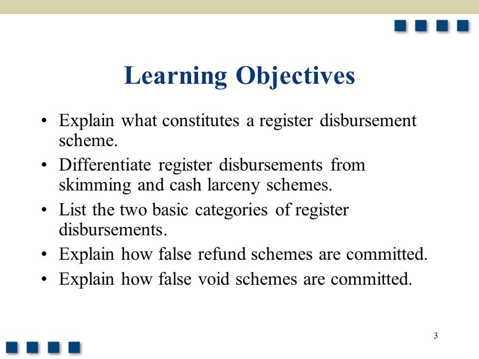 Learning Objectives Explain what constitutes a register disbursement scheme.