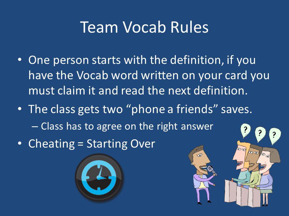 Team Vocab Rules