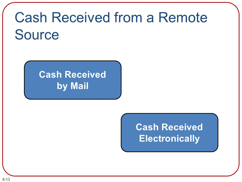 Cash Received from a Remote Source