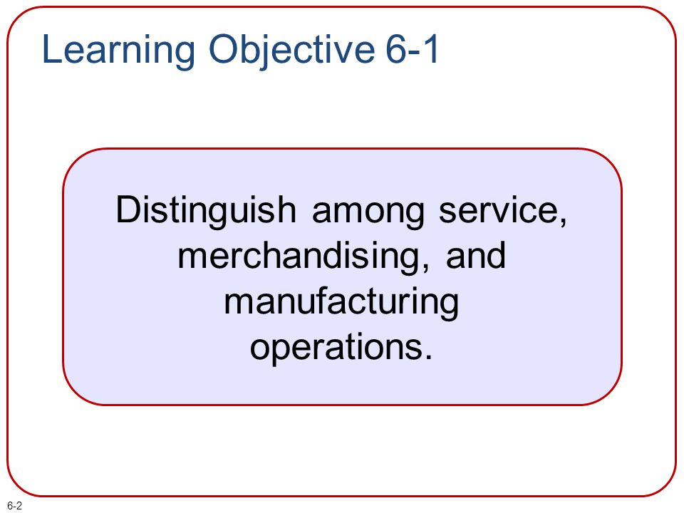 Distinguish among service, merchandising, and manufacturing